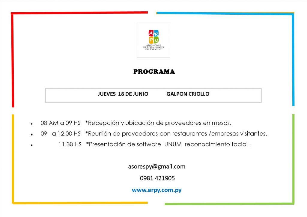 Programa Evento Reunión en el Galpón Criollo